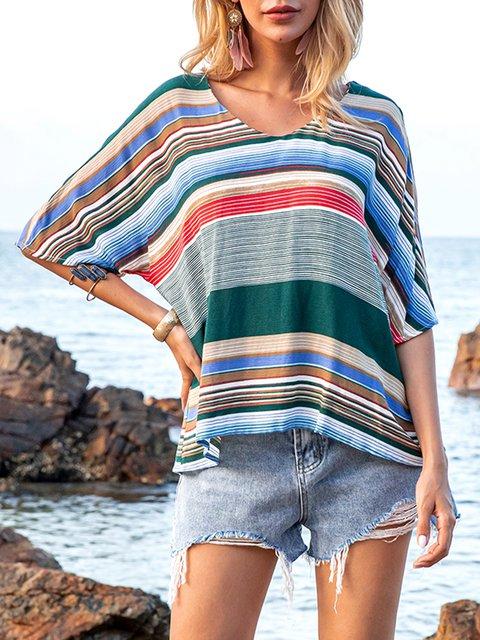 Flower Stripe Crew Neck Striped Short Sleeve Shirts & Tops