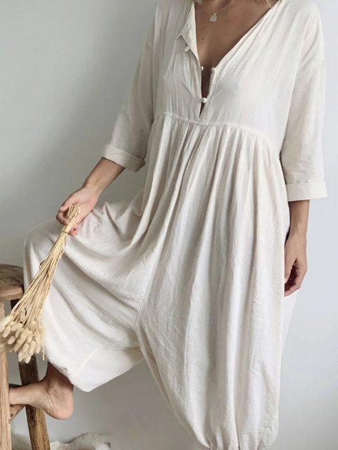 Beige V Neck 3/4 Sleeve Linen Plain Jumpsuits