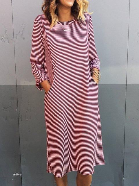 Striped Pockets Midi Dress Plus Size Long Sleeve Dresses