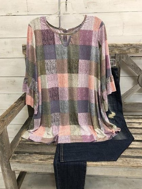 O-Neck Linen Checkered/plaid Casual Shirts & Tops