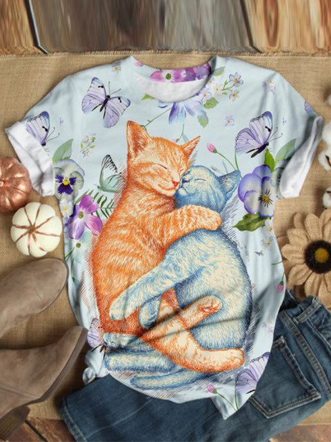 Cat Pattern Floral-Print Casual Shirts & Tops
