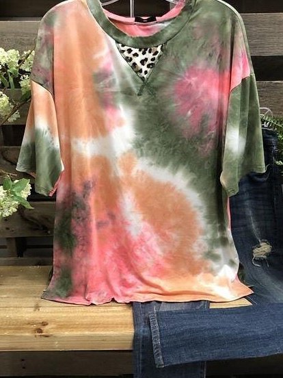 O-Neck Casual Ombre/tie-Dye Shirts & Tops