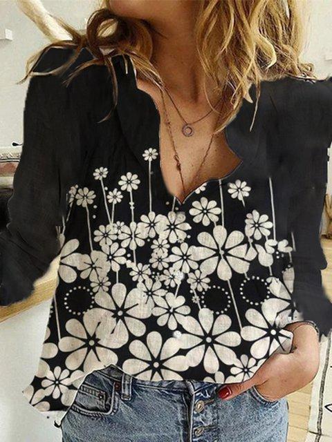 Black Shirt Collar Floral Cotton-Blend Casual Shirts & Tops