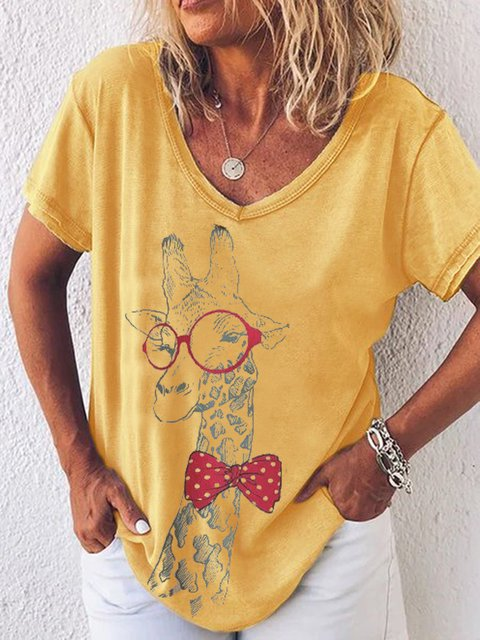 Printed V Neck Casual Short Sleeve Tops