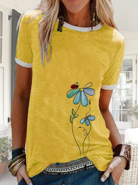 Printed Short Sleeve Crew Neck Casual Tops