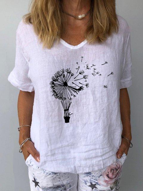 Dandelion Print Linen Casual Shirts & Tops