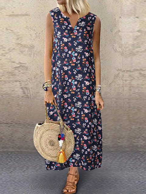 Floral Printed Sleeveless V-neck Casual Dress