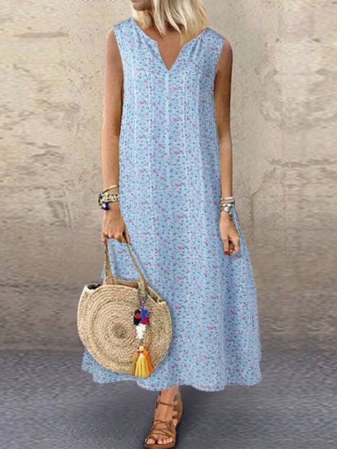 Floral Sleeveless Maxi Dress Plus Size V Neck Dresses