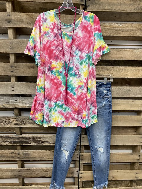 Red Crew Neck Ombre/tie-Dye Short Sleeve Casual Shirts & Tops