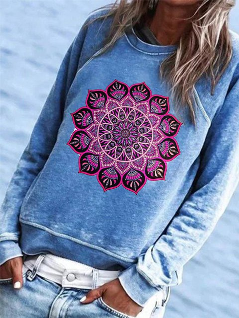 Blue Casual Printed Cotton-Blend Shirts & Tops