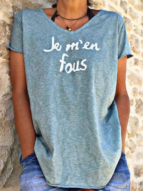 Women Summer Letter Tee Short Sleeve V Neck T Shirts