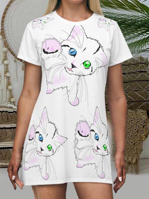 Cat Lover Printed Short Sleeve Casual T-shirt Dress