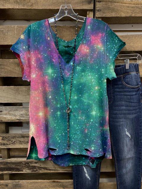 Color Cotton-Blend V Neck Casual Shirts & Tops