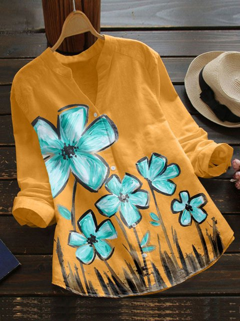 Yellow Floral Cotton-Blend Casual Shirts & Tops