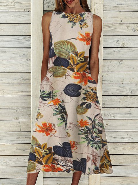 Summer Sleeveless Midi Dress Pockets Plus Size Dresses