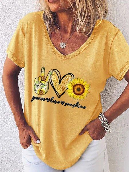 Yellow Short Sleeve Cotton Printed Shirts & Tops