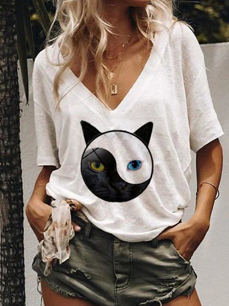 Cat Print White Short Sleeve Casual Cotton-Blend Shirts & Tops
