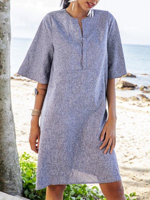 Blue Solid Casual V Neck Shift Dresses