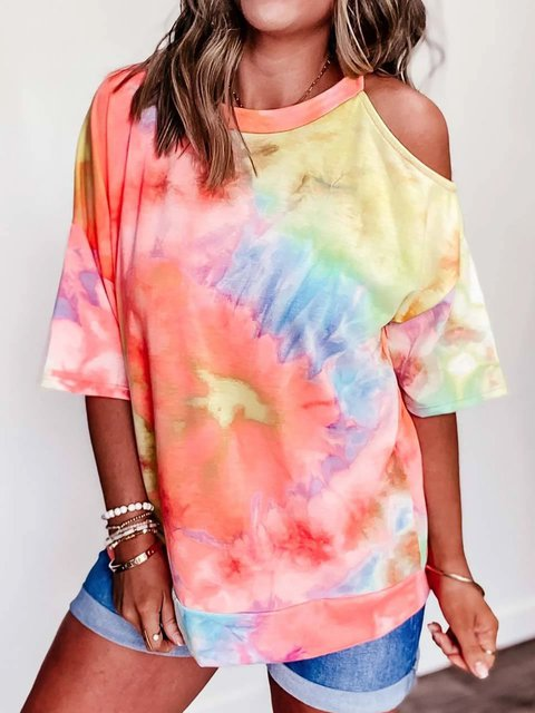 Printed Off Shoulder Ombre/tie-Dye Shirts & Tops