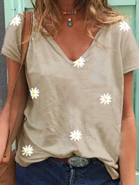 Khaki Printed Short Sleeve V Neck Shirts & Tops