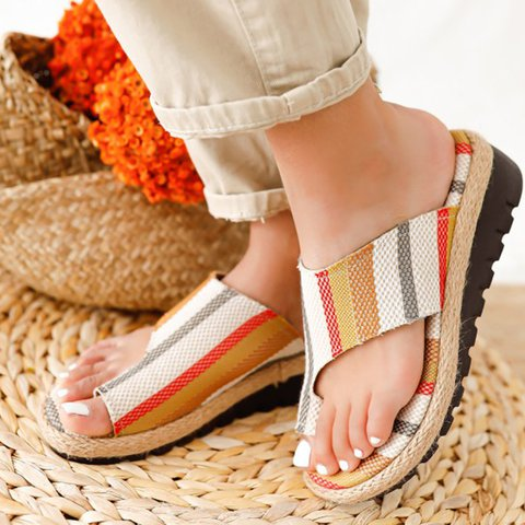 Apricot Block Heel Artificial Leather Seaside Summer Slippers