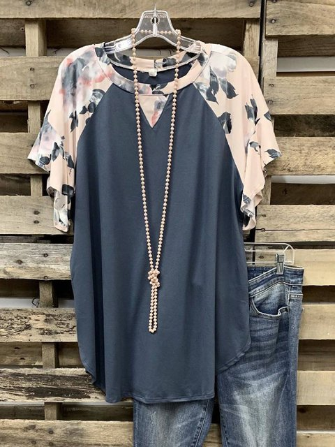 Gray Floral Cotton-Blend Casual Shirts & Tops