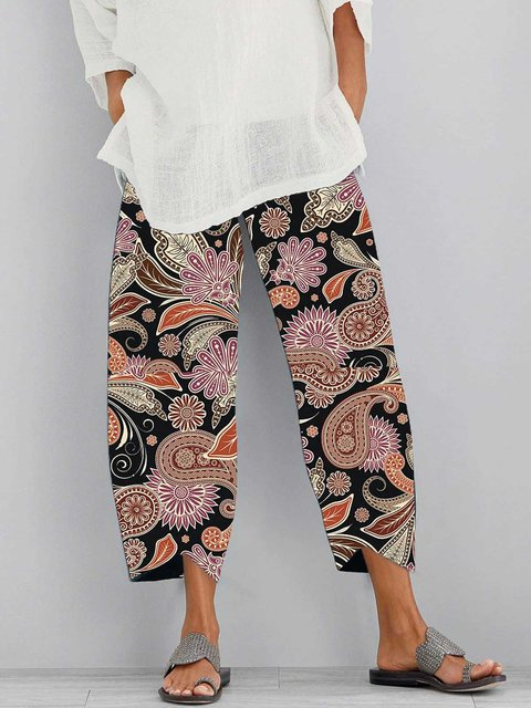 Multicolor Patchwork Printed Casual Cotton Pants