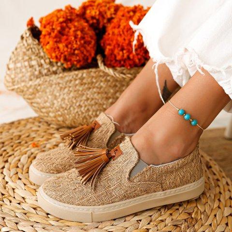 Beige Flat Heel All Season Date Tassel Artificial Leather Sneakers