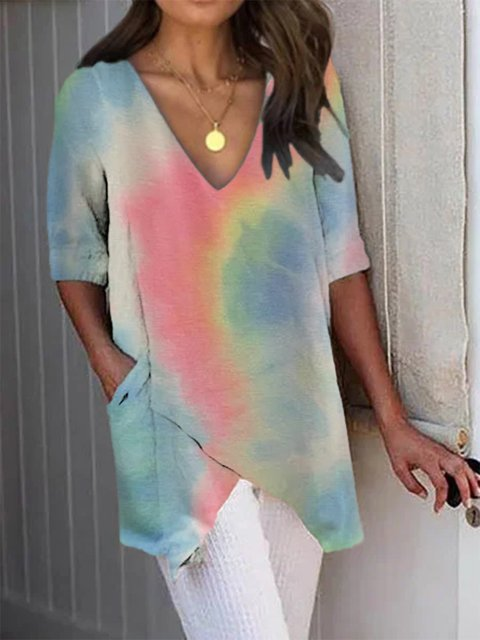 Multicolor Gradient Short Sleeve Cotton Shirts & Tops