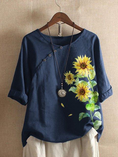Blue Cotton-Blend Vintage Floral Shirts & Tops