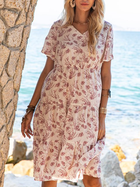 White Casual Long Sleeve Floral A-Line Dresses