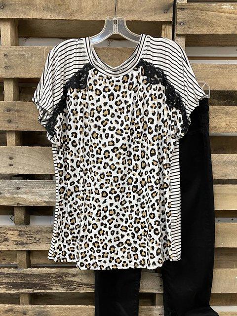 Leopard Print Crew Neck Short Sleeve Shirts & Tops