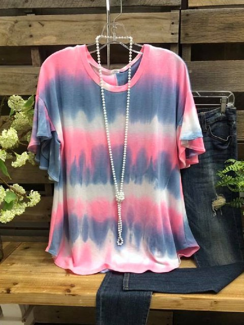 Pink Cotton Short Sleeve Shirts & Tops