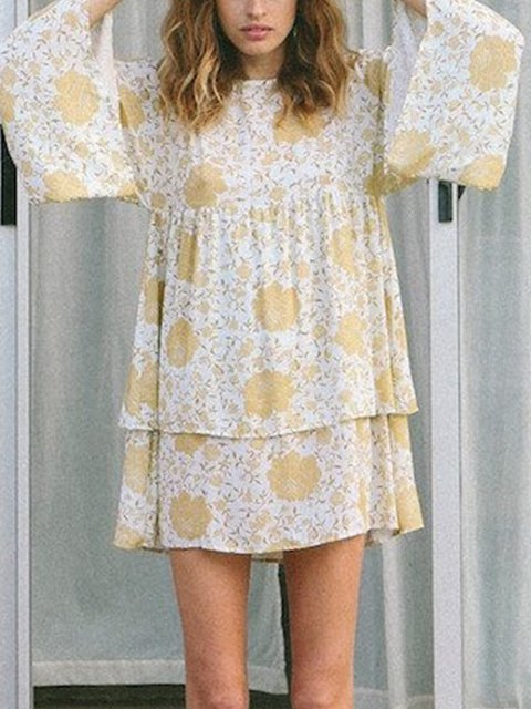 Yellow Holiday Bell Sleeve Crew Neck Floral-Print Dresses