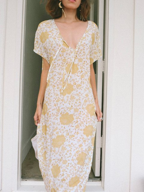 Yellow Cotton-Blend Floral-Print Holiday Dresses