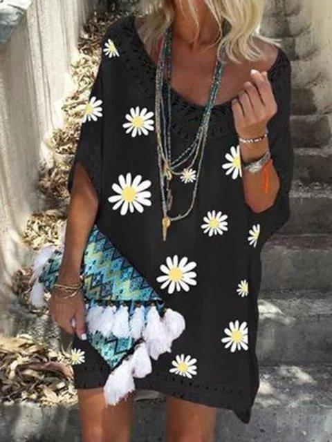 Black Floral Batwing Floral-Print Holiday Dresses