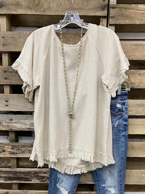 Khaki Casual Plain Linen Shirts & Tops