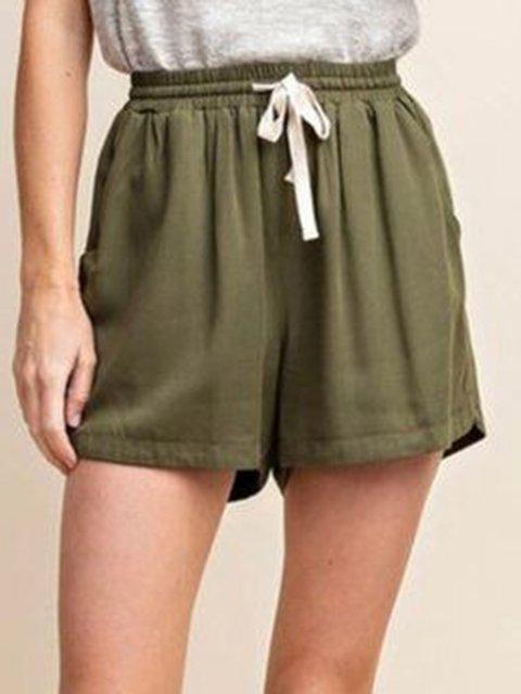 Army Green Casual Cotton-Blend Plain Shorts