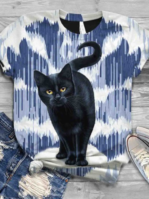 Color Casual Crew Neck Animal Shirts & Tops
