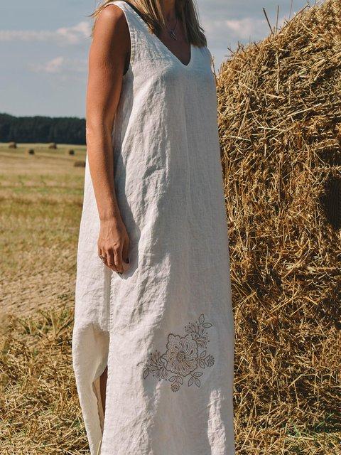 V-neck Cotton Linen Casual Loose Maxi Dress