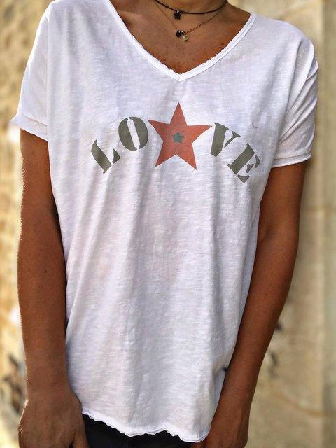 Women Letter Tee Summer Short Sleeve T Shirts