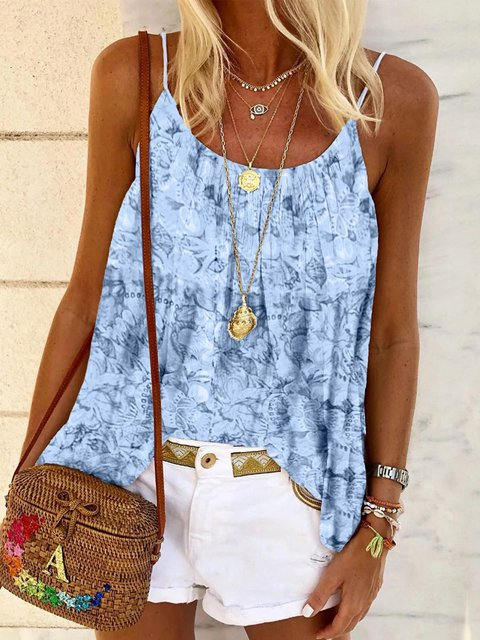 Cotton-Blend Casual Sleeveless Dip-Dyed Shirts & Tops