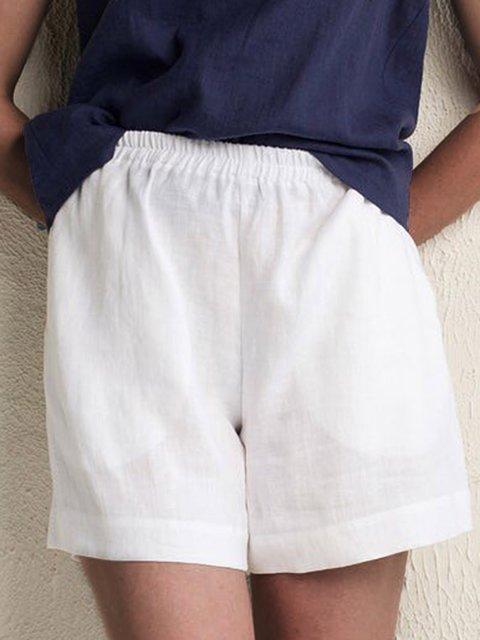 Women Summer Solid Shorts Pockets Pants