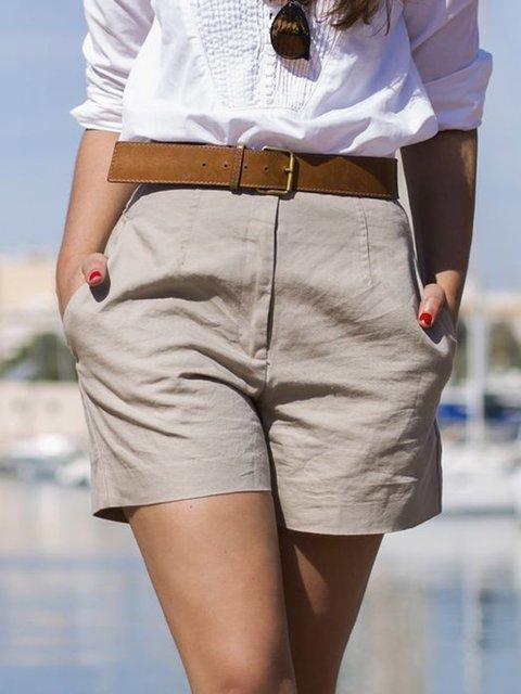 Solid Pockets Shorts Summer Women Plus Size Pants