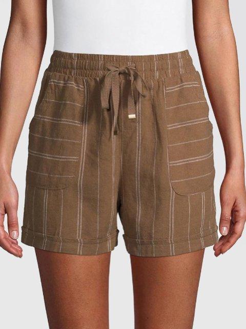 Summer Pockets Shorts Striped Women Pants