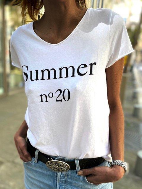 Summer Letter Tee Women Plus Size Short Sleeve T Shirts