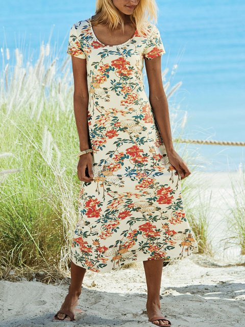 Floral Midi Dress Plus Size Summer Short Sleeve Dresses