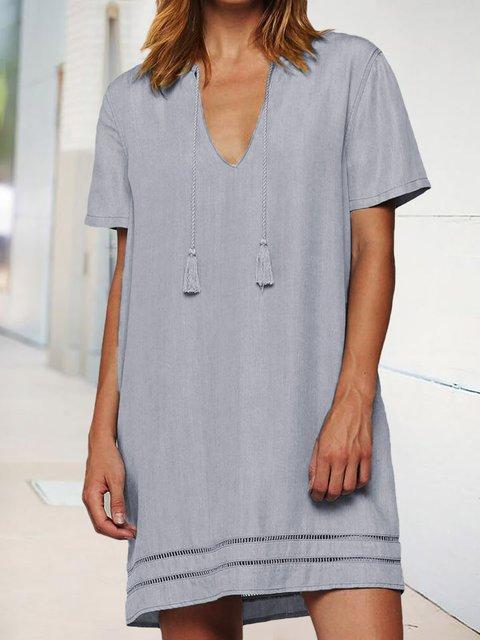 Fringed V-neck Short Sleeve Loose Casual Dress