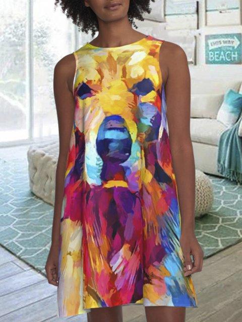 Multicolor Sleeveless Animal A-Line Dresses
