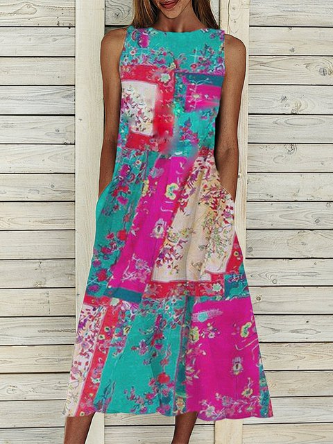Floral Sleeveless Midi Dress Summer Plus Size Pockets Dresses